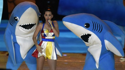 Katy Perry with sharks