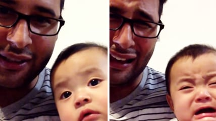 Image: Baby cries when dad does.