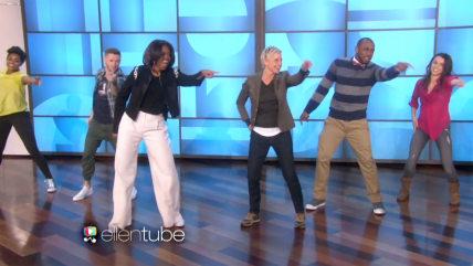 Image: Michelle Obama and Ellen DeGeneres hold a dance-off.