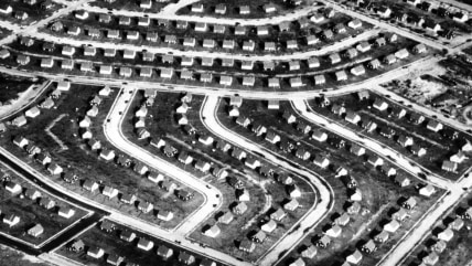 This aerial photograph shows a portion of Levittown, N.Y., in 1948 shortly after the mass-produced suburb was completed on Long Island farmland just 25 miles east of Manhattan.