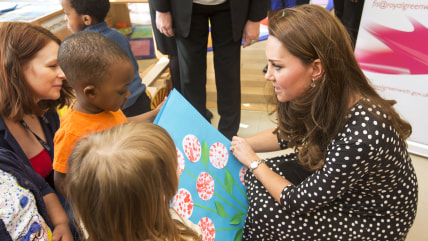 LONDON, ENGLAND - MARCH 18: Catherine, Duchess of Cambridge visits the Brookhill Children's Centre in Woolwich to find out about the work of Home Star...
