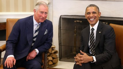 WASHINGTON, DC - MARCH 19:  Prince Charles, Prince of Wales smiles with President of the United States of America Barack Obama in the Oval Office on t...
