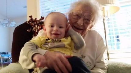 Helen Willaman, 101, and her great-great-grandson Samuel.