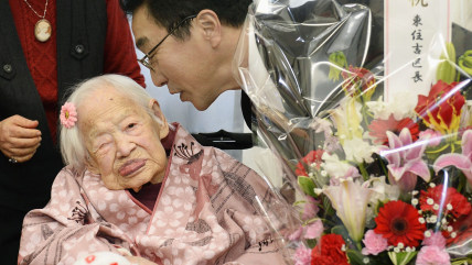 Misao Okawa, the world's oldest living person, on the day before her 117th birthday.