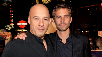 Vin Diesel and Paul Walker arrive at a premiere in 2009.