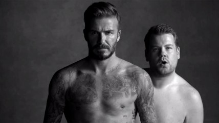 Image: David Beckham and James Corden