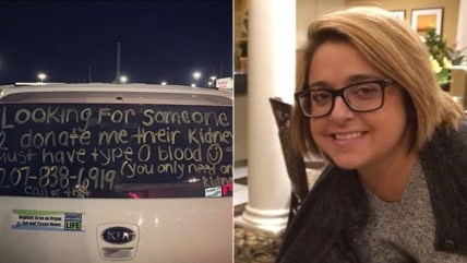 Christine Royles looked for a kidney donor through a message on her car.