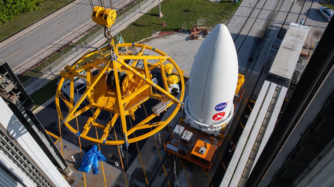NASA's Mars 2020 Perseverance rover waits to be lifted onto its Atlas V launch vehicle at Cape Canaveral Air Force Station, Fla., on July 7.Kim Shiflett / NASA