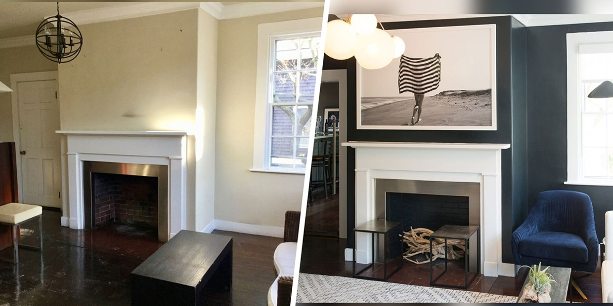 Image of: Living Room Makeover See How Darker Paint Made This Room Feel Bigger