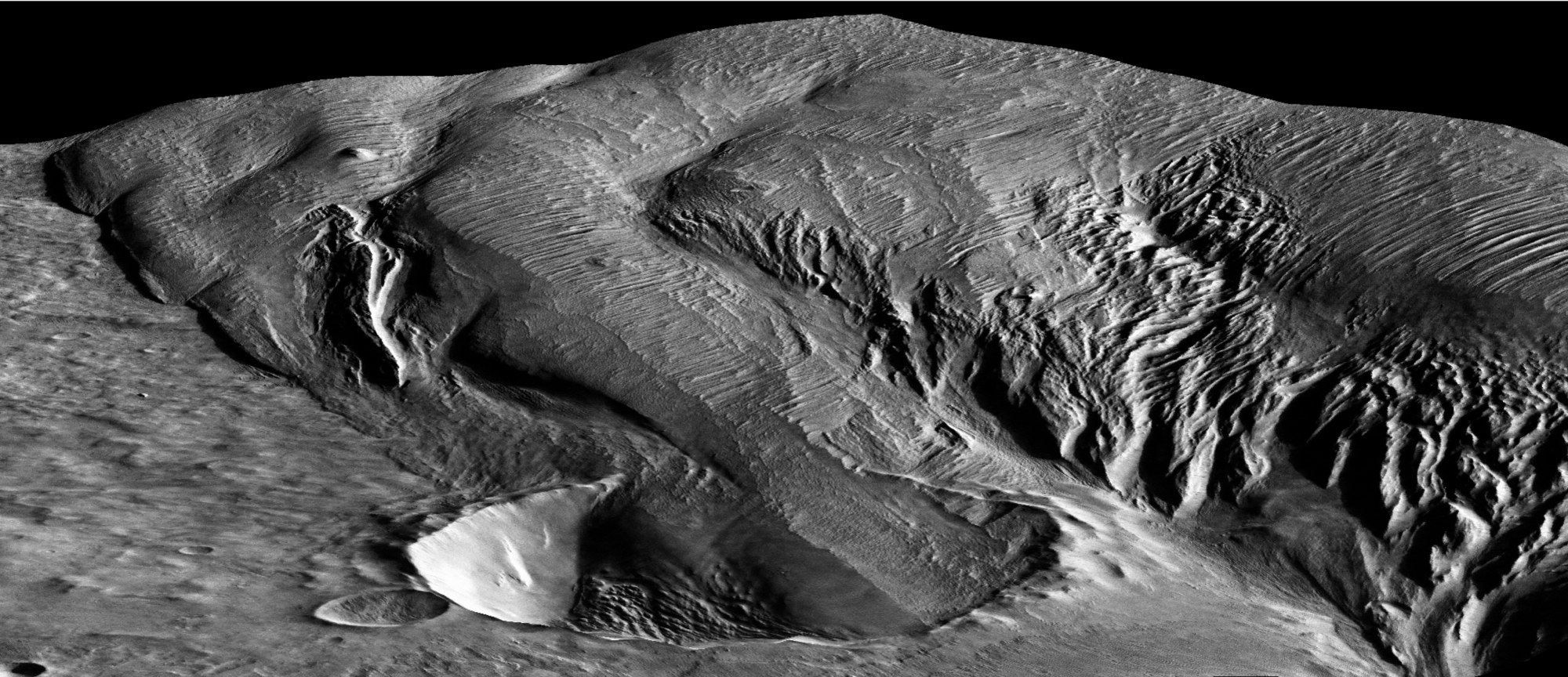 image of an 8 mile diameter crater infilled by the medusae fossae formation on mars