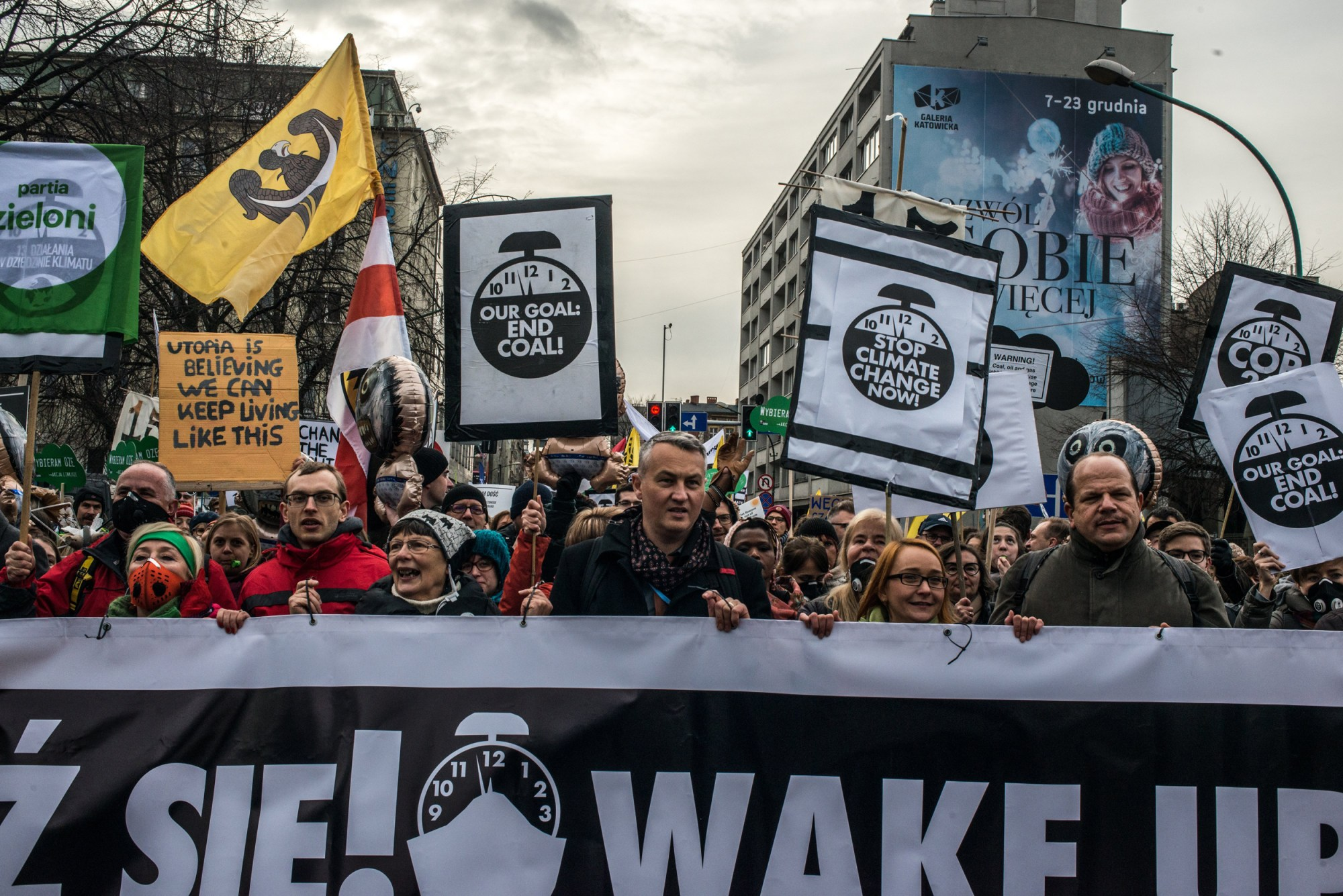 Image: Protesters call for political and economic reforms to combat climate change during the United Nations Summit on Climate Change (COP24) in Katowice, Poland, on Dec. 8, 2018.