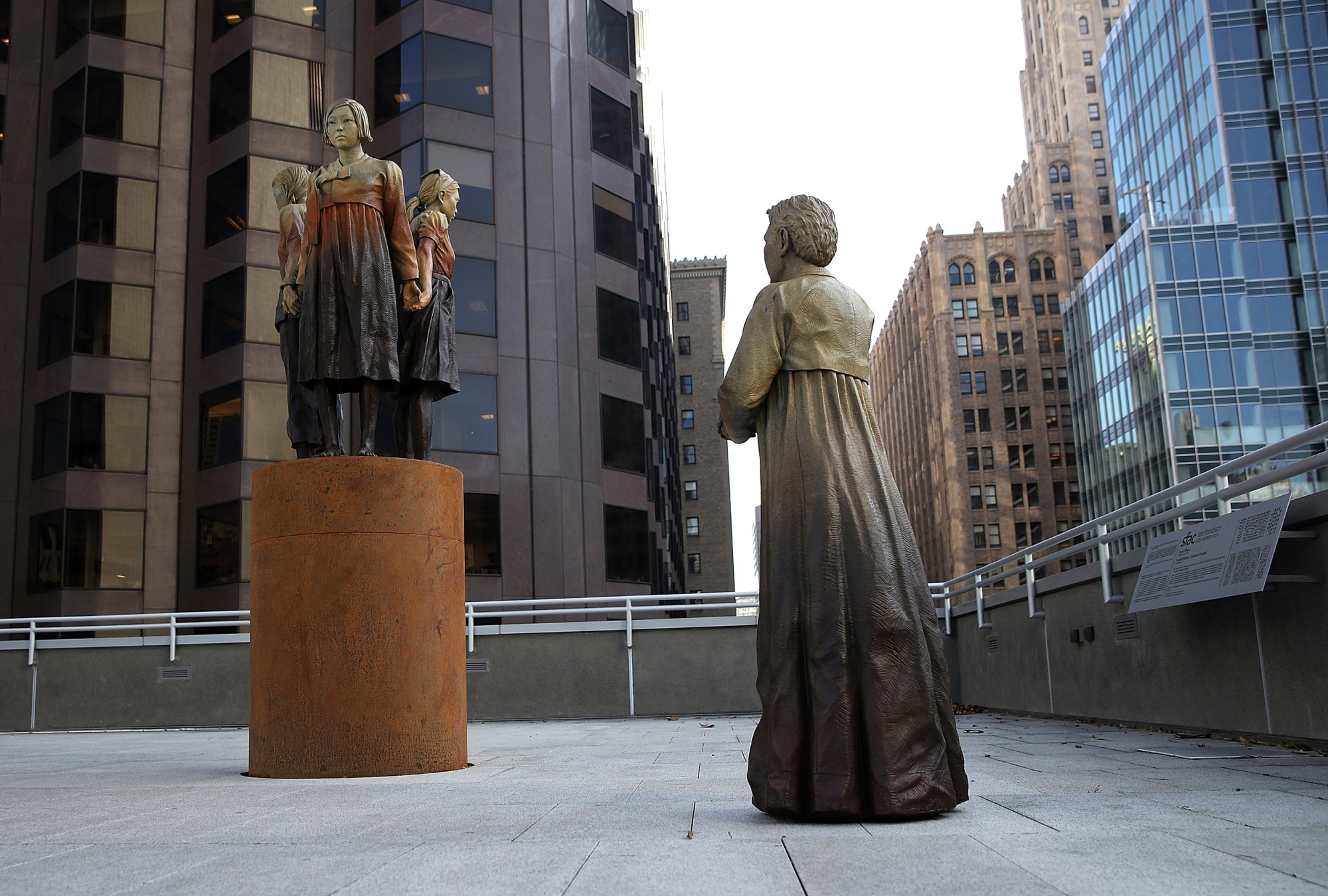 "Image: ""Women's Column of Strength,"" a bronze statue by artist Steven Whyte, at St. Mary's Square in San Francisco, California, on Nov. 1, 2017."
