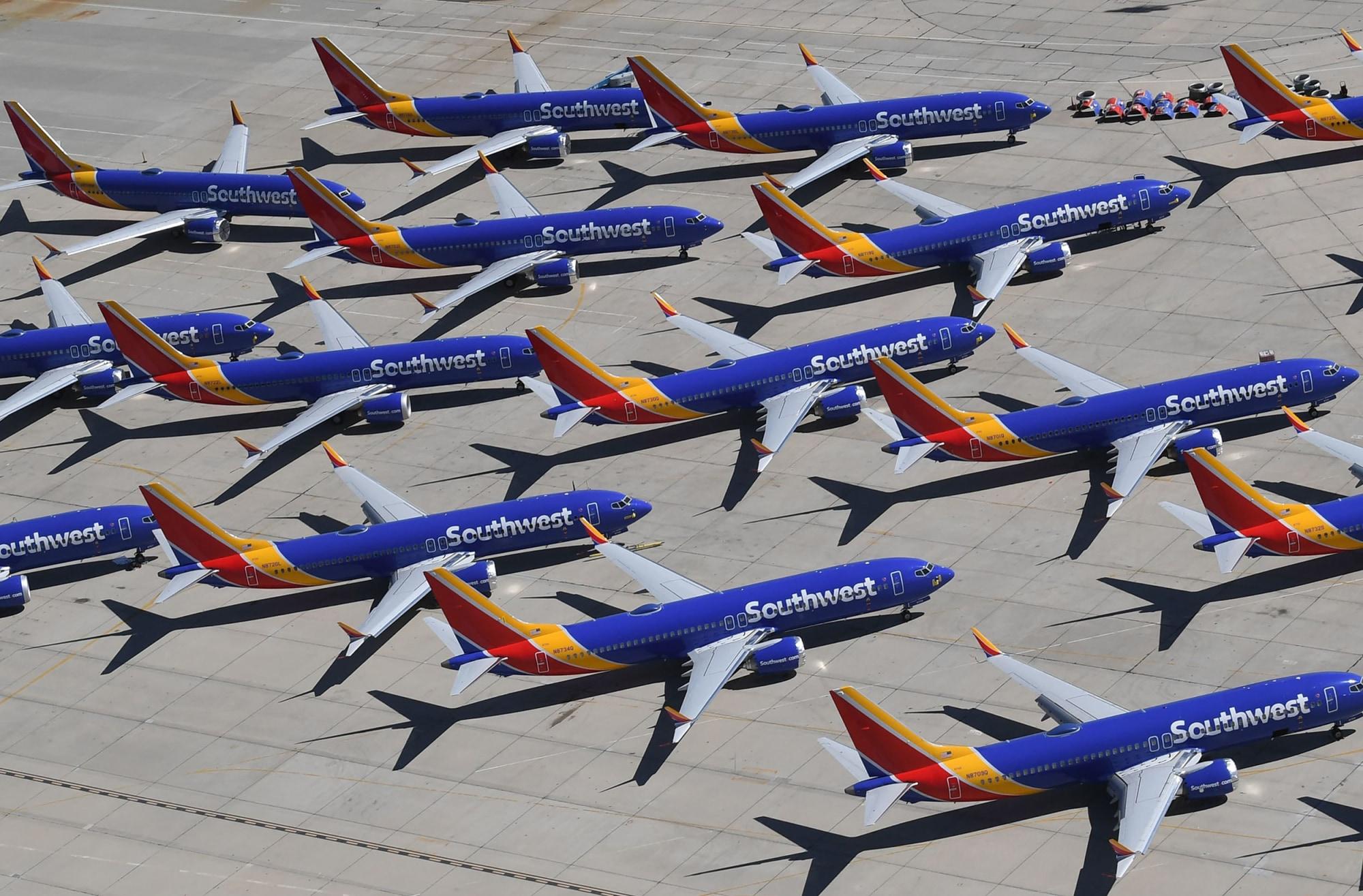 Boeing 737 MAX parcheggiati dopo la mesa a terra Credits: nbcnews.com