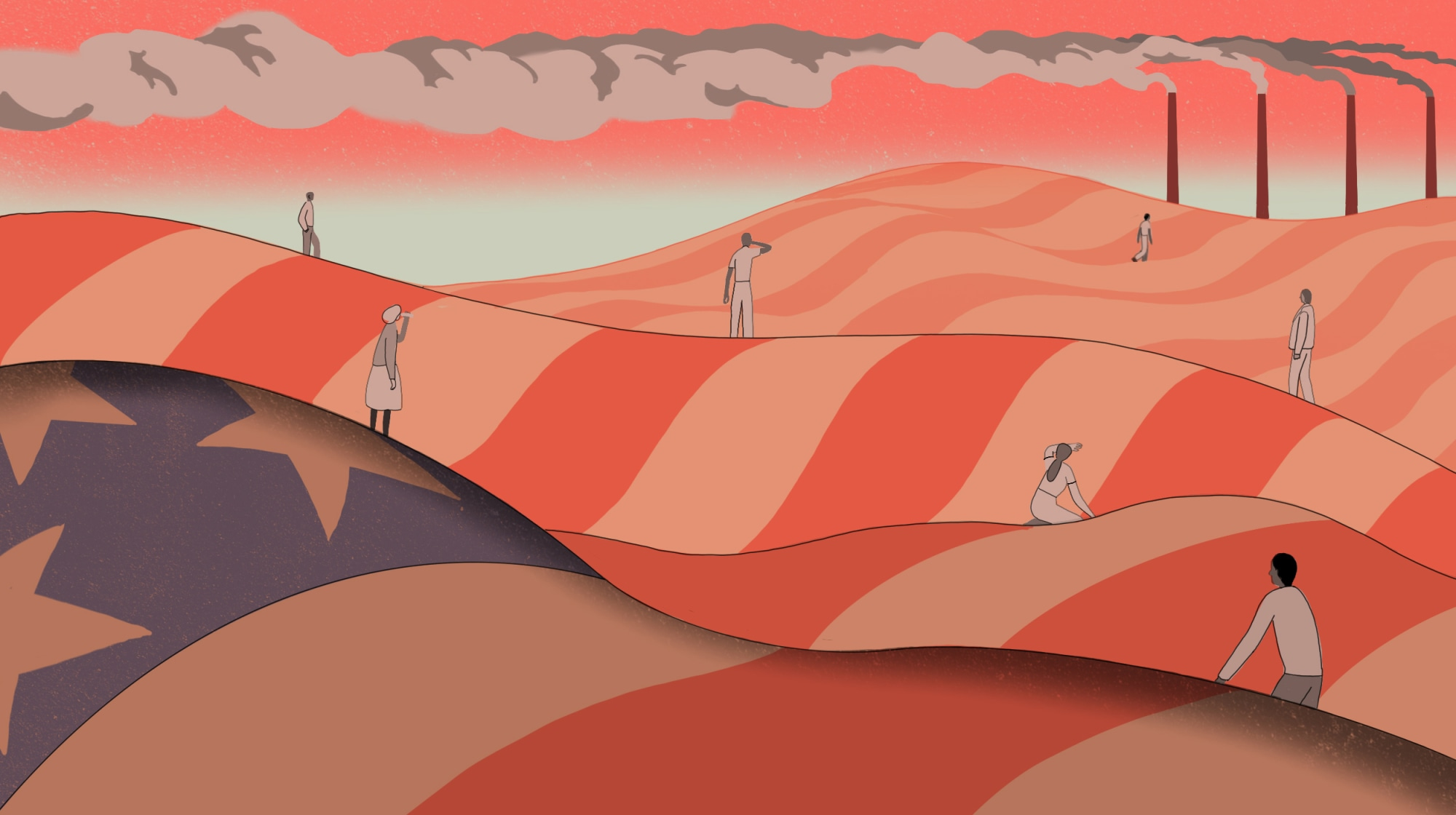 Illustration of overheated people standing on hills made of the American flag, smoke stacks billow in the distance.