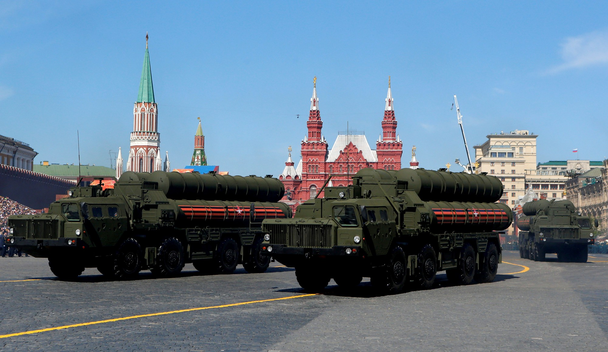 Image: S-400 missile air defense systems during a Victory Day parade in the Red Square in Moscow on May 9, 2018.