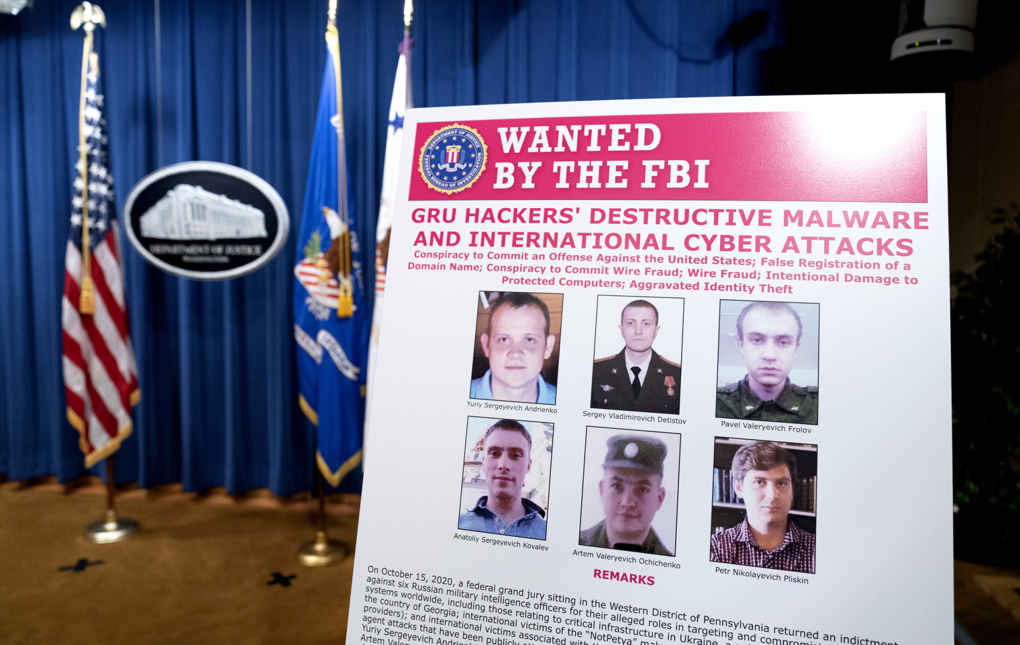 U.S. Charges Six Russian Military Officers With Hacking American Companies, 2018 Olympics, and Foreign Countries