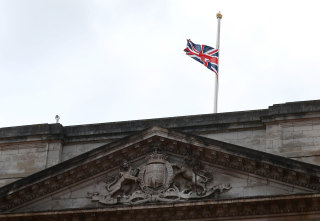 Image: View of Buckingham Palace after Prince Philip has died in London