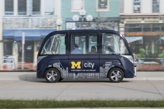 The Arma, a driverless electric shuttle manufactured by French firm NAVYA, was introduced to North America at the Mcity Test Facility in December 2016.