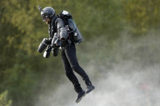 Image: Richard Browning in a body-controlled jet engine power suit