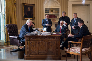 Image: Trump speaks with Putin in the Oval Office