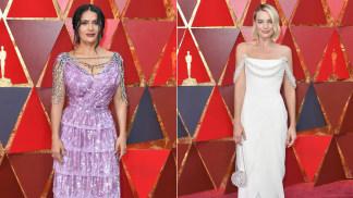 Bejeweled Neckline: Margot Robbie, Salma Hayek