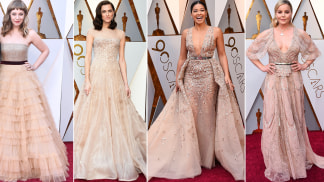 Emily V. Gordon, Allison Williams, Gina Rodriguez and Abbie Cornish show how fabulous a flesh-toned gown can look.