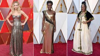 Jennifer Lawrence, Lupita Nyong'o and Tiffany Haddish all glowed in gold.