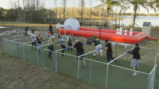There are plenty of games for adults and families, including larger-than-life foosball and bowling.