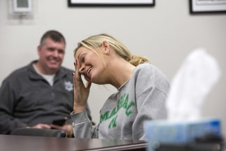 Image: Nicole reacts to being disciplined by the circuit judge at the Cabell County Drug Court, April. 9, 2018, in Huntington, West Virginia.