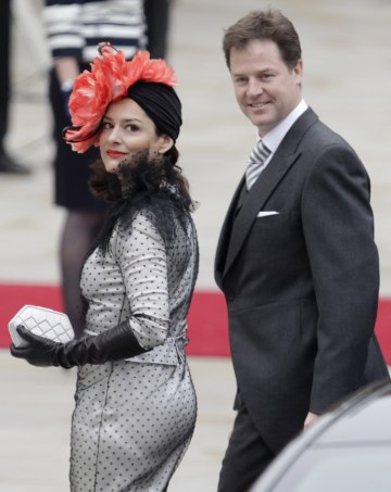 Britain S Deputy Prime Minister Nick Clegg And His Wife Miriam Left Arrive At Westminster Abbey For The Royal Wedding In London Friday April 29 2017