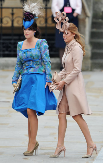 London England April 29 Princess Eugenie Of York L And Beatrice Arrive To Attend The Royal Wedding Prince William Catherine