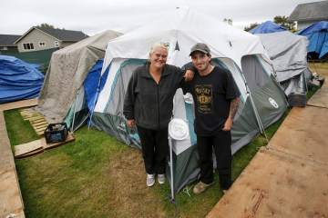Shane Savage 41 and his partner Jammie Nichols outside their tent at SHARE/WHEEL Tent City 3 outside Seattle Wash. on Oct. 12 2015.  sc 1 st  NBC News & Tent Cities: A Safe Haven for Homeless Across America