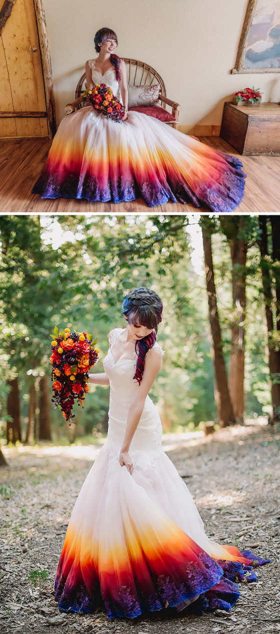 Dip Dyed Colorful Wedding Dresses Are The New Bridal Trend,Long Sleeve Silk Wedding Dresses