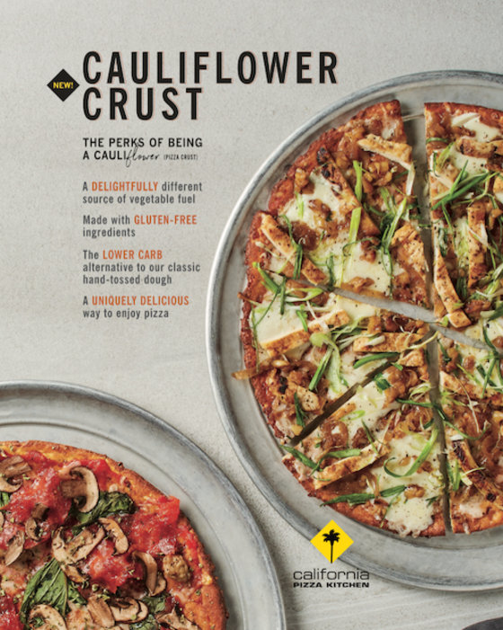 California Pizza Kitchen Rolling Out Low Carb Cauliflower Pizza Crust