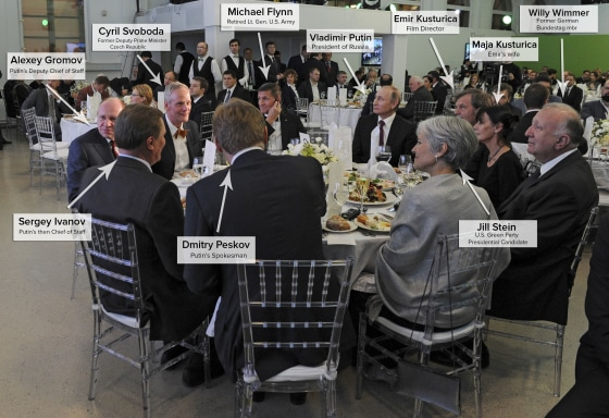 The head table of a gala celebrating the tenth anniversary of Russia Today in December of 2015 included Russian President Vladimir Putin, retired Lt. Gen. Michael Flynn and Jill Stein of the U.S. Green Party.