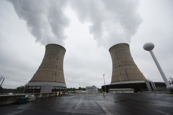 Cooling towers at the Three Mile Island nuclear power plant in Middletown, Pennsylvania, on May 22, 2017.