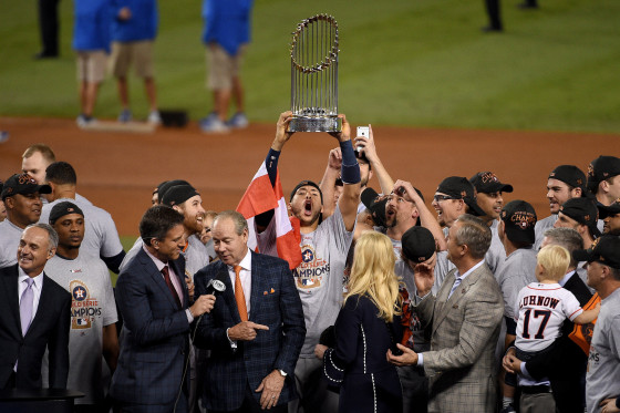 Image: Carlos Correa of the Houston Astros hoists the trophy after defeating the Los Angeles Dodgers to win the 2017 World Series at Dodger Stadium on November 1, 2017 in Los Angeles.
