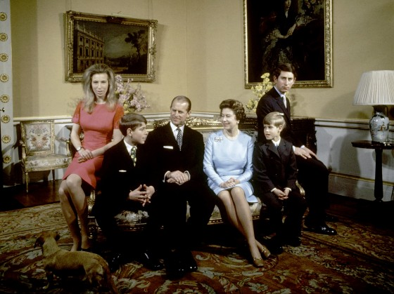 Image: Princess Anne, Prince Andrew, Prince Philip, Queen Elizabeth, Prince Edward and Prince Charles at Buckingham Palace, London, on Nov. 20, 1972.