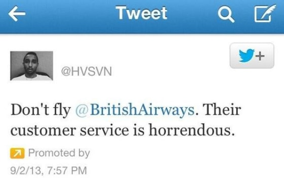 disgruntled customer of British Airways