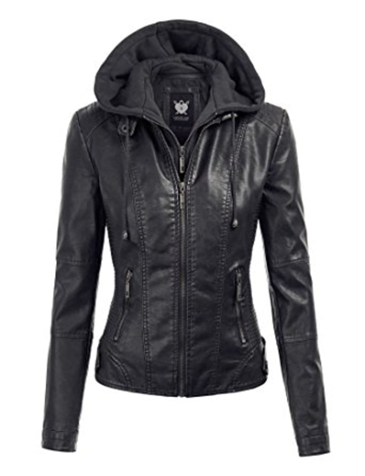 0c4b7947adc LL Womens Hooded Faux leather Jacket