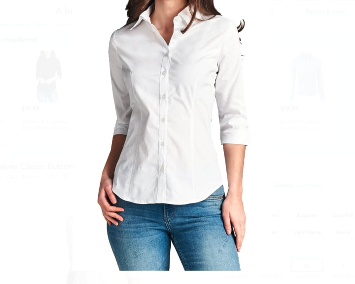 e474cf851b2 3 4 Sleeves Classic Button Down Collar Shirt