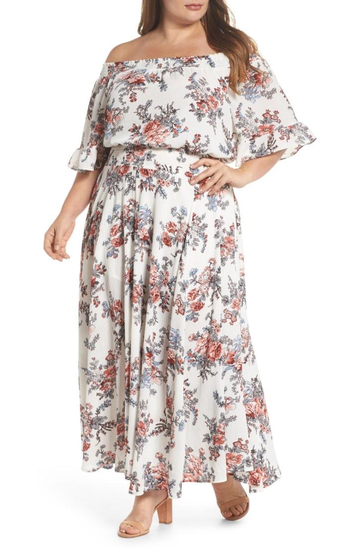 8e9c30e1cc3 Glamorous Floral Print Off-the-Shoulder Maxi Dress