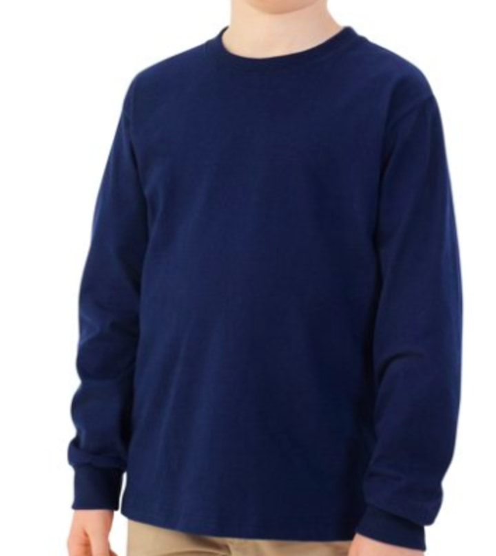 58460d431 Fruit of the Loom Boys' Long Sleeve Crew T-Shirt with Rib Cuffs
