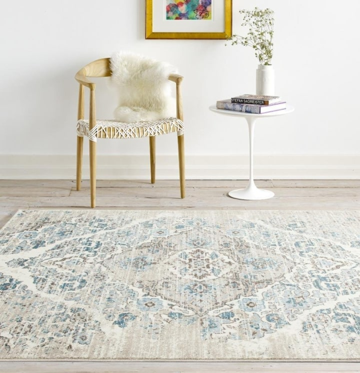 Distressed Cream Area Rug