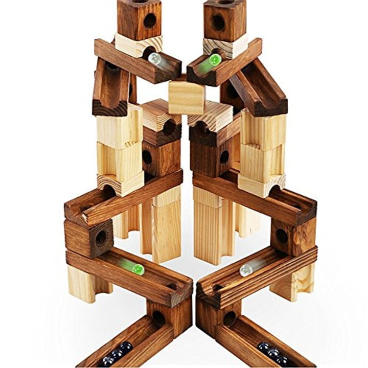 Marble Run Toys 60 Pieces Wooden Classic Ramps Track Building Construction Set