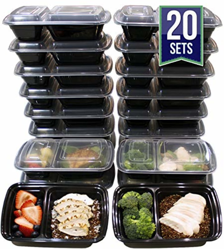 32 Ounce 2 Compartment Meal Prep Containers