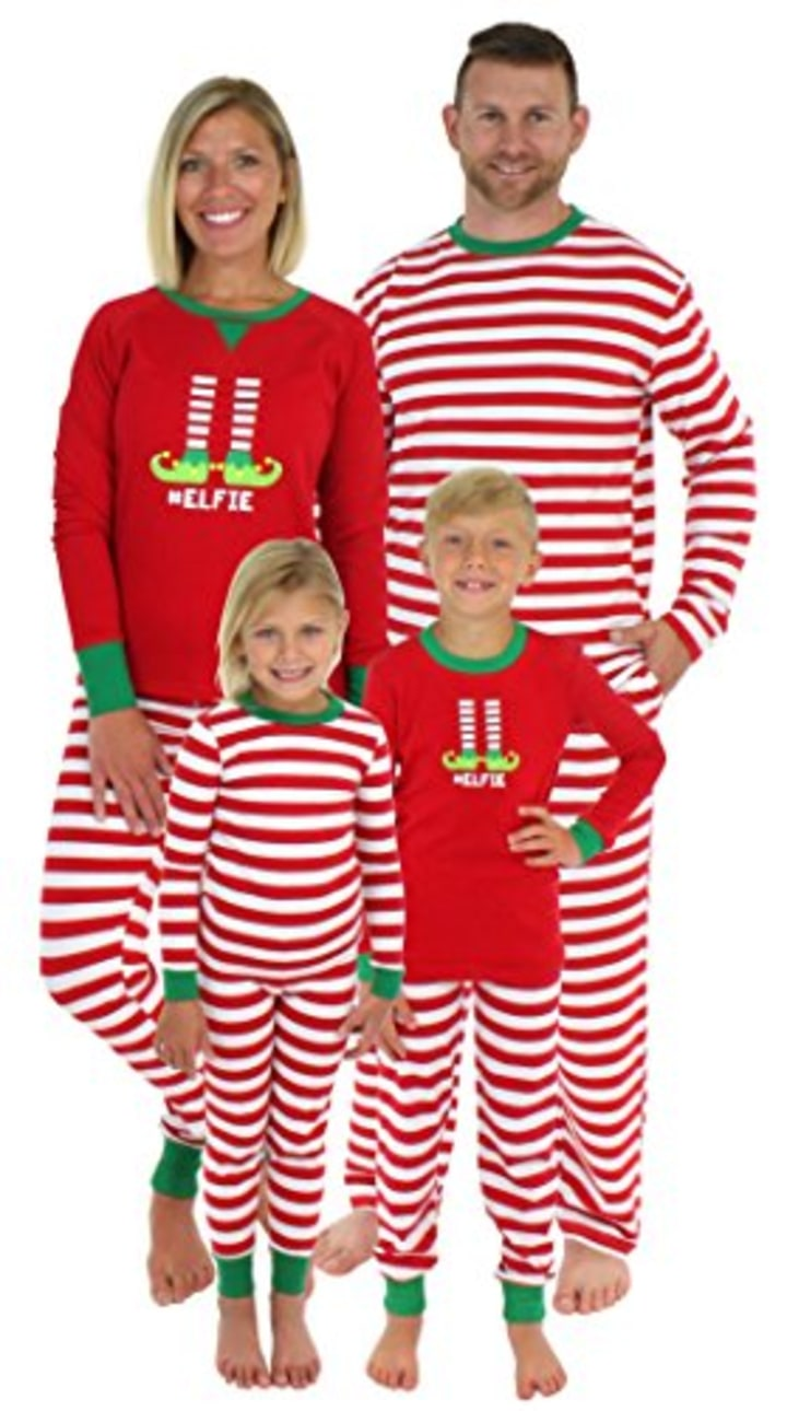 sleepyheads christmas family matching red striped elf pajama pj sets