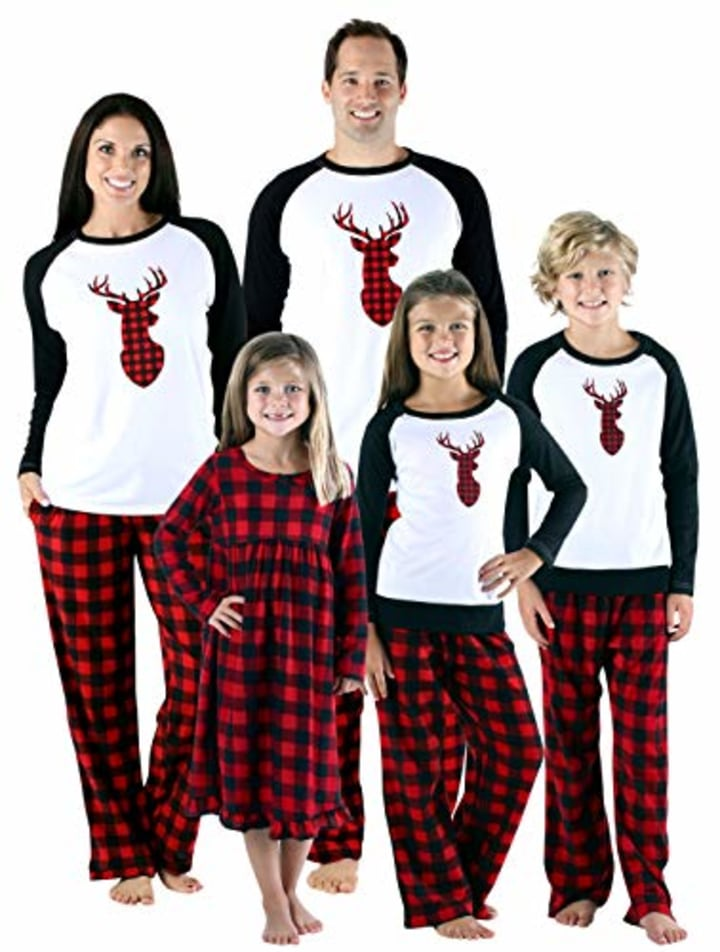 Sleepytime Holiday Family Matching Fleece Deer Plaid Pajama PJ Sets f53d82f6e