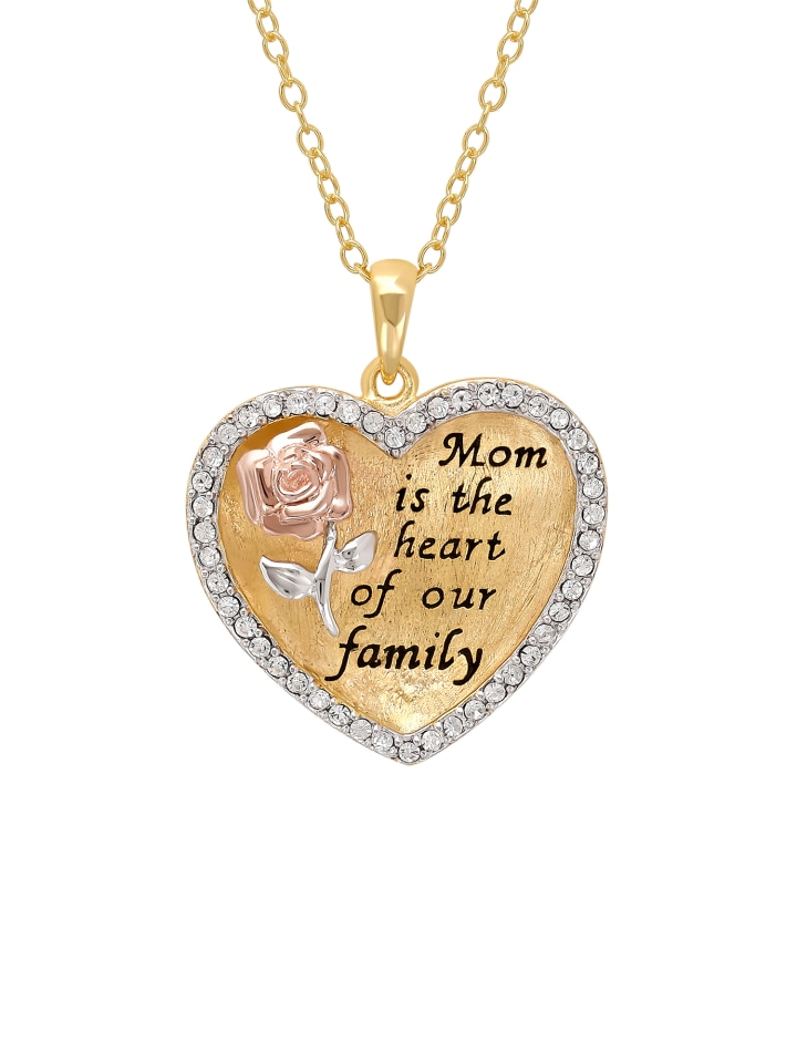 Sterling Silver And 18K Gold Plate Crystal Border Mom Is The Heart Of Our Family Pendant
