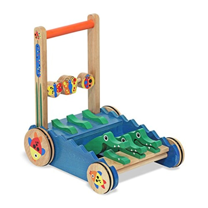 Melissa Doug Deluxe Chomp And Clack Alligator Wooden Push Toy Activity Walker